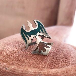 Jewelry - Vintage Turquoise Coral Thunderbird Phoenix Ring